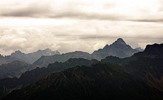 Mountains, Mood, Landscape, Clouds, Sky, Alpine