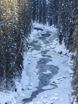 Creek, Frozen, Ice, Winter, Landscape, Mountains