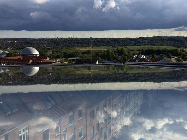 Clouds, Window, City, Dome, Reflection, Landscape