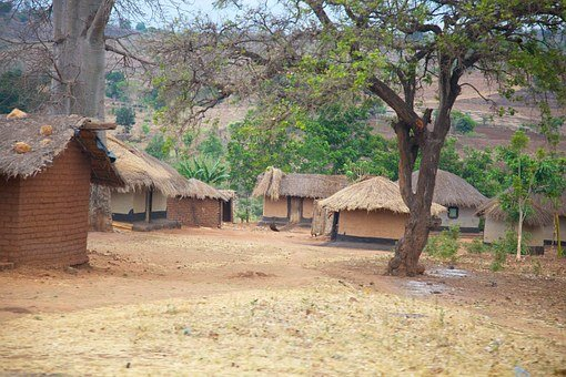 Malawi, Africa, Village, Huts, Homes, Thatched, Mud