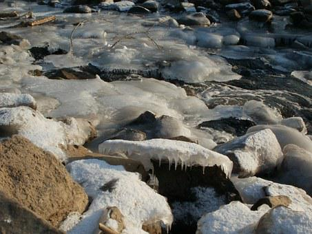 Kriegbachmuendung, Frozen, Stream, Creek, Water