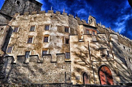 Lienz, Germany, Castle, Bruck, Sky, Clouds, Building