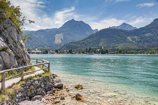 Lake Wolfgang, St Wolfgang, Mountains, Panorama