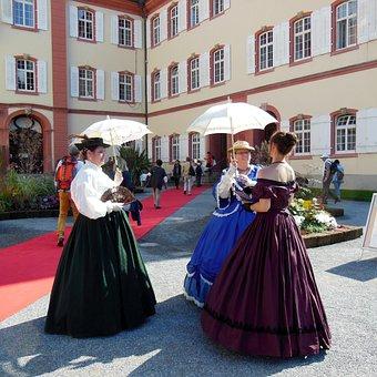 Costume, Noble, Parasols, Lake Constance, Mainau Island