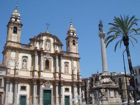 Palermo, Sicily, Summer, Plama, Monument, Church, City