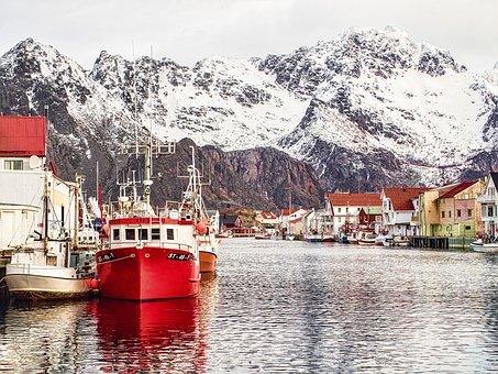 Henningsvaer, Lofoten, Norway, Port, Mountain
