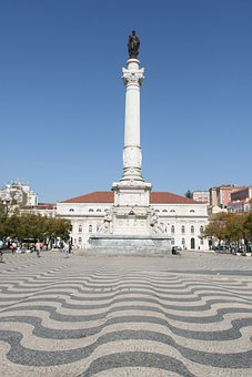 Rossio Square, Low, Lisbon, Portugal