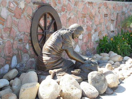 Statue, Street Statues, Street Statue, Bronze, Female