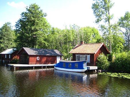 Sweden, Göta Channel, Water, House, Bridge, Boat, Tree