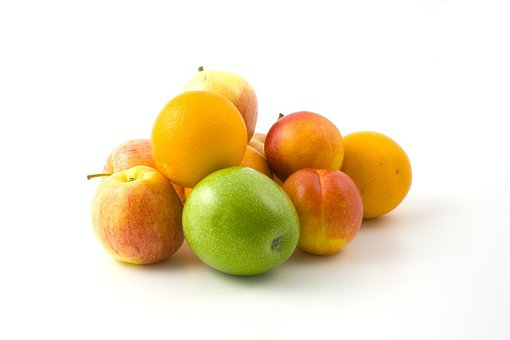 Apples, Oranges, Peaches, Pile, Tasty, Fresh, Fruit