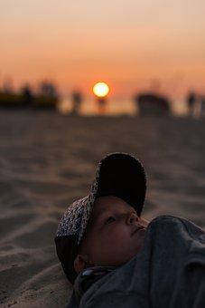 Beach, West, Sun, The Sun, Child, Boy, Holidays, Poland