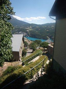 Sauze Du Lac, Hautes Alpes, Village, Lake, Mountains
