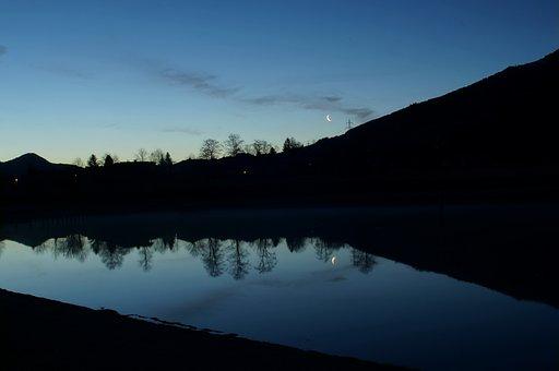 Shortly Before Sunrise, Water Reflection, Lake, Sunrise