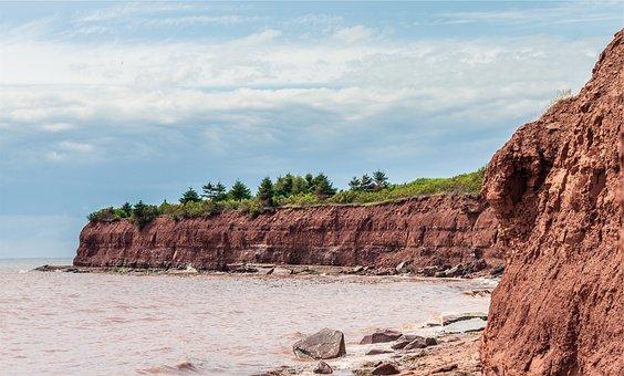 Rocks, Shore, Water, Wavers, Cliffs, Sky, Clouds, Dirt