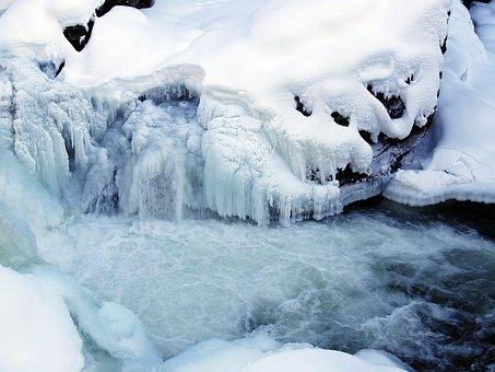 Winter, Ice, Creek, Frozen, Snow, Cold, Water
