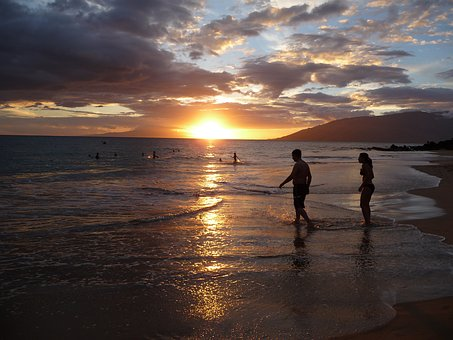 Beach, Maui, Makena, Sunset, People, Solhouettes