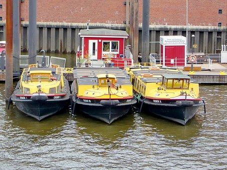 Ships, Yellow, Triplets, Water, Boot, Port, Berths