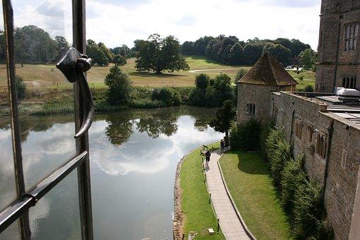 Lake, Castle, Leeds Castle, England, Stone Castle
