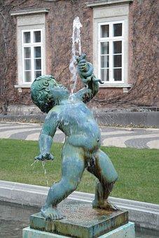 Sculpture, Boy, Nude, Water, Fountain, Green, Chubby