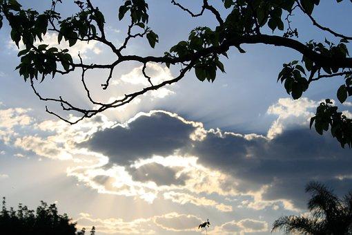 Clouds, Dark, Edged, Light, Shiny, Bright, Sky, Blue
