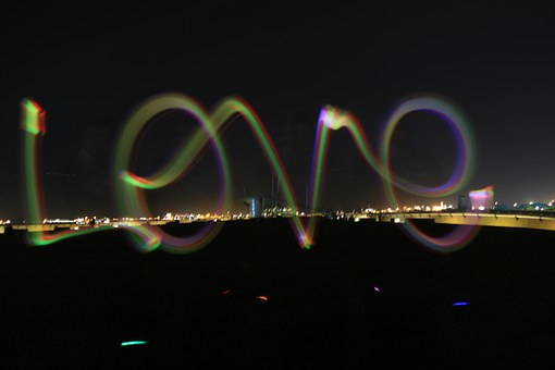 Glowstick, Love, Dark, Night, Art, Lightplay