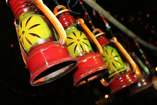 Yellow, Red, Lamp, Lantern, Colorful, Clay, Terracotta