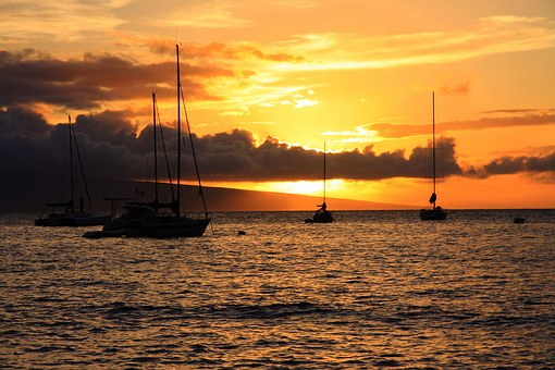 Sunset, Hawaii, Maui, Water, Pacific Ocean, Clouds, Sky