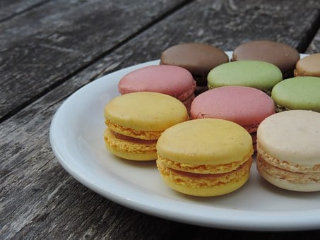 Macarons, France, Color, Plate, Wooden Table, Yellow