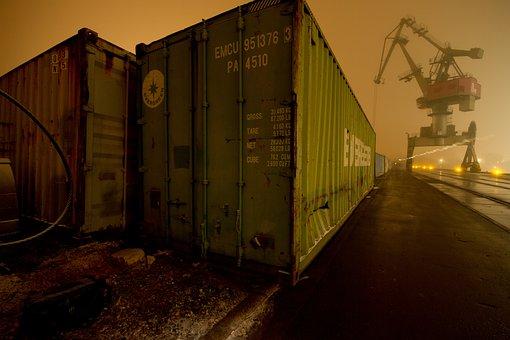 Regensburg, Port, Crane, Night, Warenlager, Container