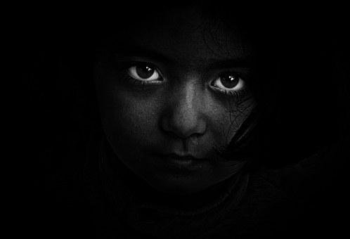 Girl, Portrait, Eyes, Black And White, People, Power