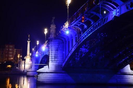 Bridge, Meuse, River, Color, Lights, Night, Reflections
