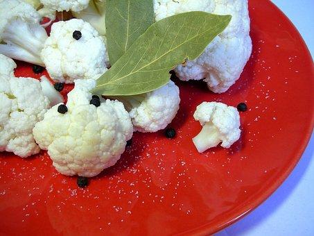 Plate, Cauliflower, Bay Leaf, Pepper, Salt, Kitchen