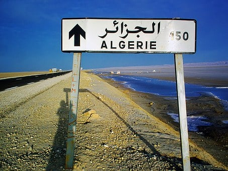 Signpost, Algeria, 150 Km, Road, Salt Lake, Dry
