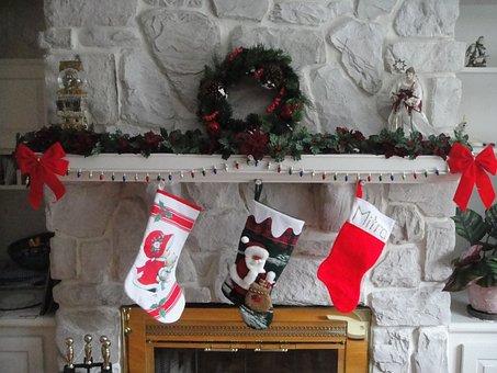 Christmas, Stockings, Hearth, Xmas, Seasonal, Fireplace