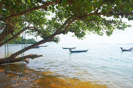 Seesaw, Sea, Boat, Beach, Water, Romantic, Island, Tree