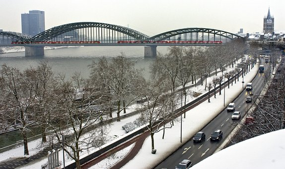 Snow, Winter, Bridge, City In Winter, Cologne, Rhine