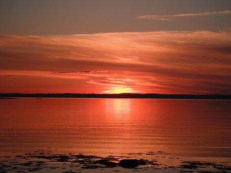 St Lawrence, Sunset, Quebec, St Lawrenceriver, Sun