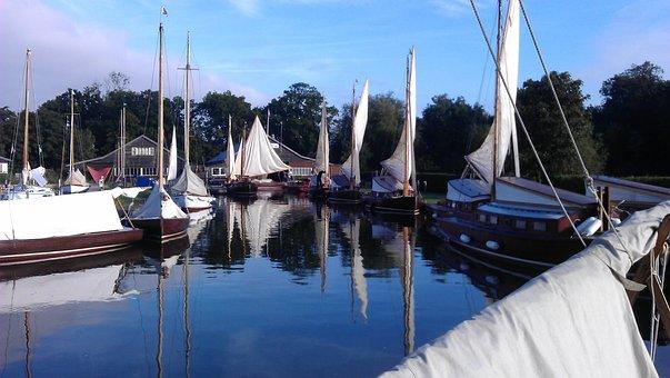 Sailing, Hunter's Yard, Ludham, Water, Sailboat