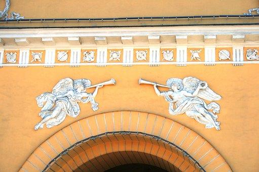 Arch, Entrance, Detail, White, Decorative, Figures