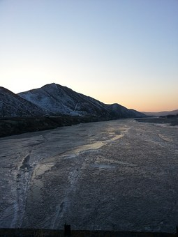 Glow, Sunset, Frozen River, In The Cold, Winter