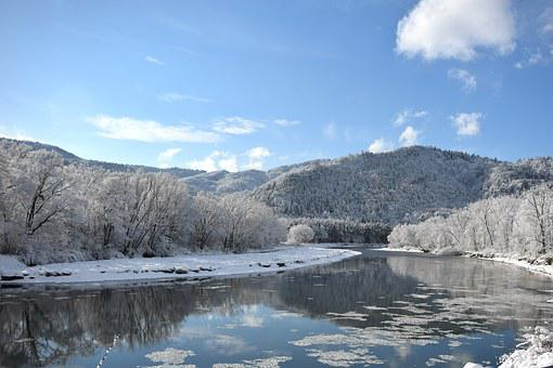 Poprad River, Beskid Sądecki, Winter In The Mountains