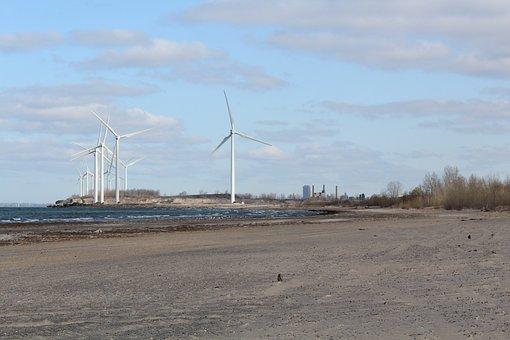 Usa, Erie Lake, Beach, Wind Power