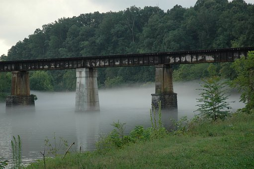 Bridge, Railroad Trestle, River, Tennessee, Fog