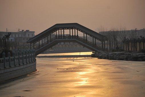 Canal, Waterway, Frozen, Water, Sundown, Bridge, Ice