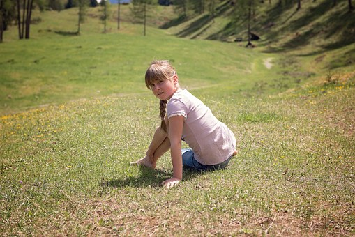 Human, Child, Girl, Sitting, With Detent, Rest, Meadow