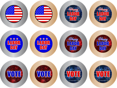 Icon, Button, Internet, Holiday, Labor, Day, Flag