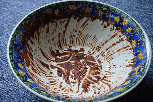 Bowl, Mixing Bowl, Dirty, Glued, Chocolate