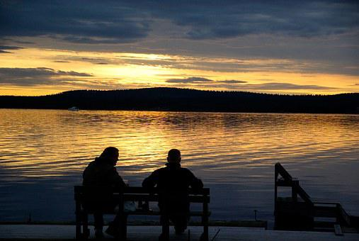 Finland, Lake, Midnight Sun