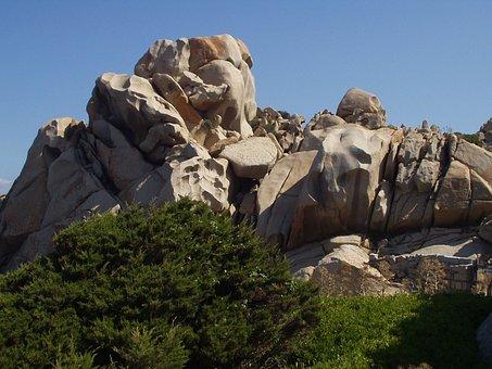 Granite, Rock, Cliff, Capo Testa, Form, Sardinia