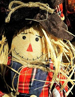 Thanksgiving, Harvest Doll, Straw Hair, Fabric